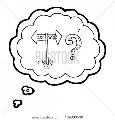 freehand drawn thought bubble cartoon yes and no sign