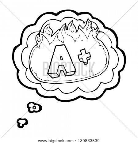 freehand drawn thought bubble cartoon A grade symbol