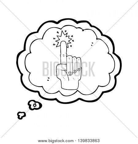 freehand drawn thought bubble cartoon pointing hand