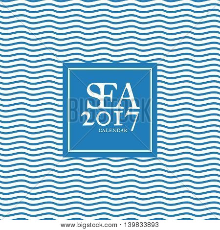 Cover for 2017 calendar. Vector template in a page, square format. Seamless pattern on background. Blue and white colors