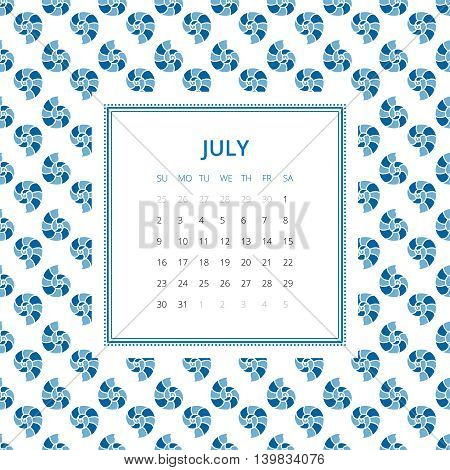 July 2017. One month calendar vector template in a page, square format. Hand drawn seamless pattern on background. Week starts on Sunday. Blue and white colors