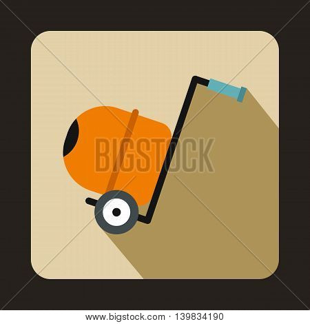 Concrete mixer icon in flat style on a beige background