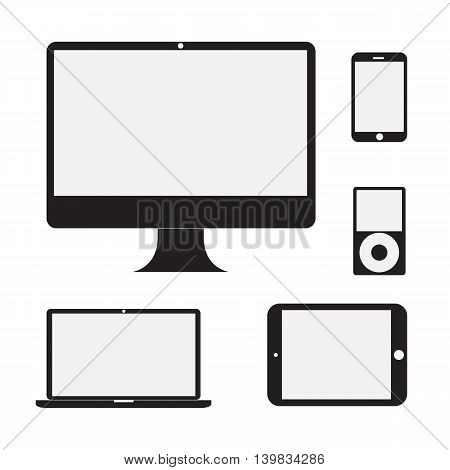 Vector illustration set of modern electronic devices - laptop computer monitor tablet pc and mobile smartphone. Vector illustration.