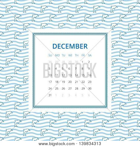 December 2017. One month calendar vector template in a page, square format. Hand drawn seamless pattern on background. Week starts on Sunday. Blue and white colors