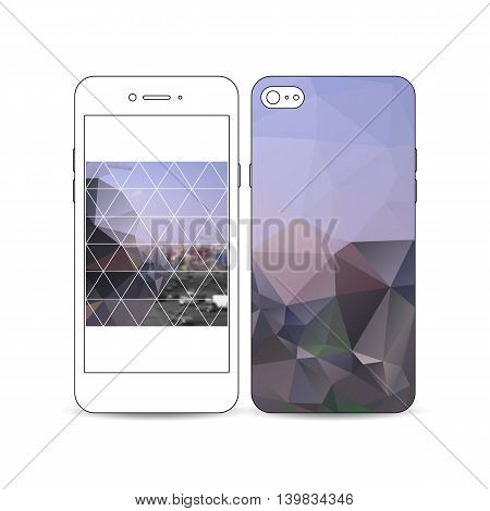 Mobile smartphone with an example of the screen and cover design isolated on white background. Polygonal background, blurred image, urban landscape, modern stylish triangular vector texture.