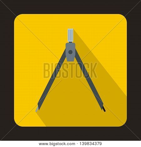 Compass tool icon in flat style on a yellow background