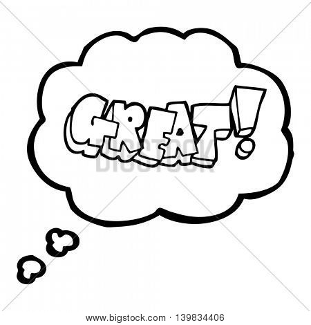 freehand drawn thought bubble cartoon Great! symbol