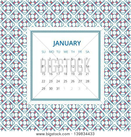 January 2017. One month calendar vector template in a page, square format. Hand drawn seamless pattern on background. Week starts on Sunday. Blue and white colors