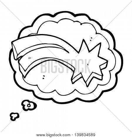 freehand drawn thought bubble cartoon decorative shooting star