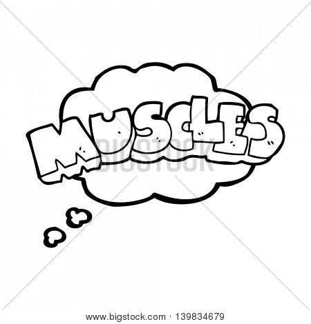freehand drawn thought bubble cartoon muscles symbol