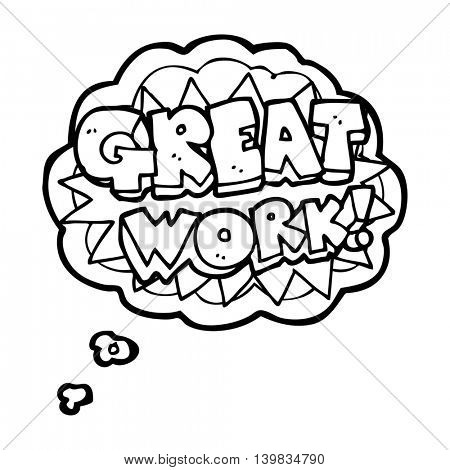 freehand drawn thought bubble cartoon great work symbol