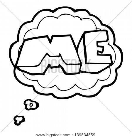 freehand drawn thought bubble cartoon ME symbol