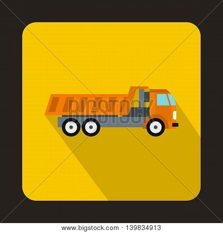 Orange dump truck icon in flat style on a yellow background