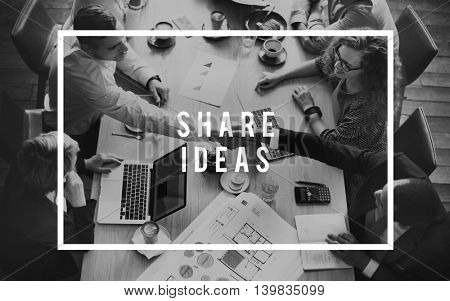 Share Ideas Synergy Togetherness Team Concept