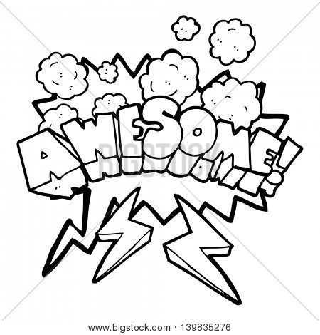freehand drawn speech bubble cartoon word awesome