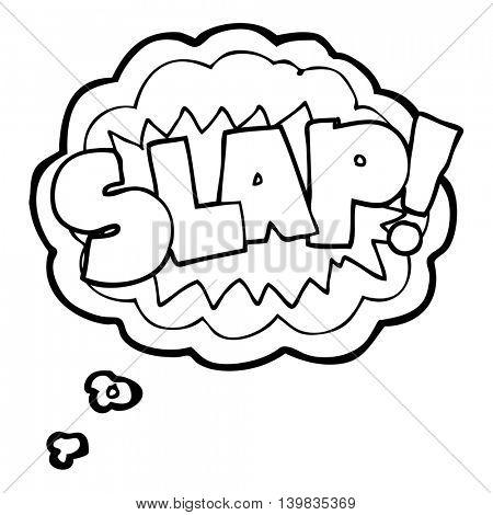 freehand drawn thought bubble cartoon slap symbol
