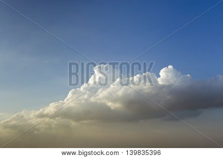 Clear blue sky with white cloud and blank space