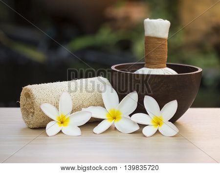 Spa scrub treatment and massage, Thailand, soft focus