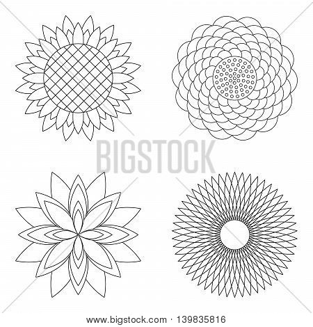 set of four vector floral simple mandalas - rose sunflower lotus and aster - black and white adult coloring book pages