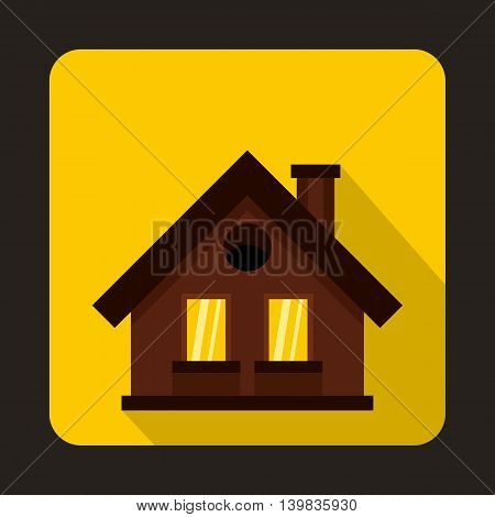 Small brown cottage icon in flat style on a yellow background