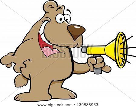 Cartoon illustration of a bear talking into a megaphone.