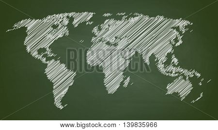 World map contour vector illustration on chalkboard bgreenboard , hand drawn