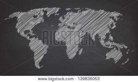 World map contour vector illustration on chalkboard blackboard , hand drawn