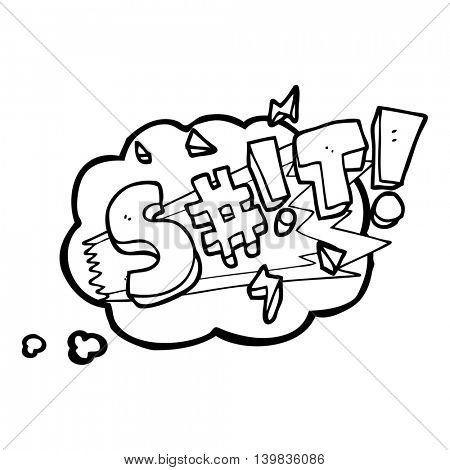 freehand drawn thought bubble cartoon swearword