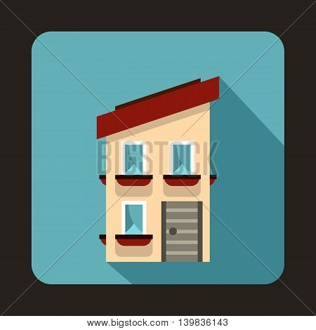 Two storey house with a sloping roof icon in flat style on a baby blue background
