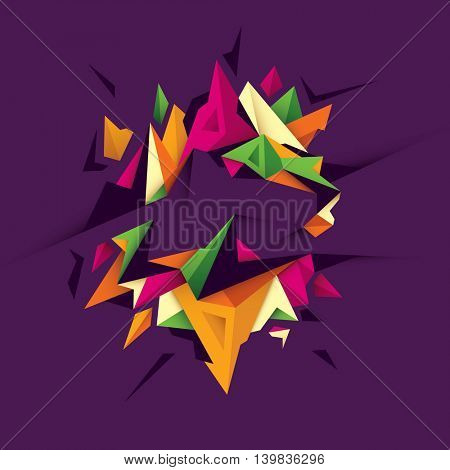 Geometric style abstraction in color. Vector illustration.