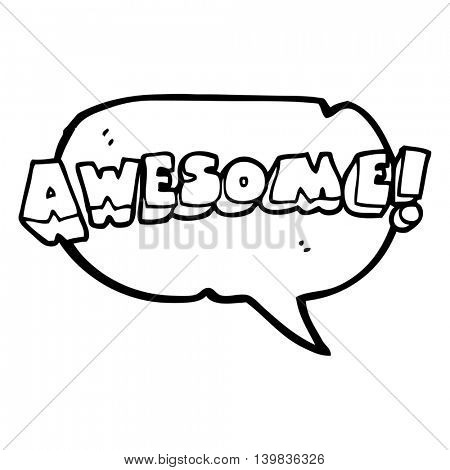 freehand drawn speech bubble cartoon awesome word