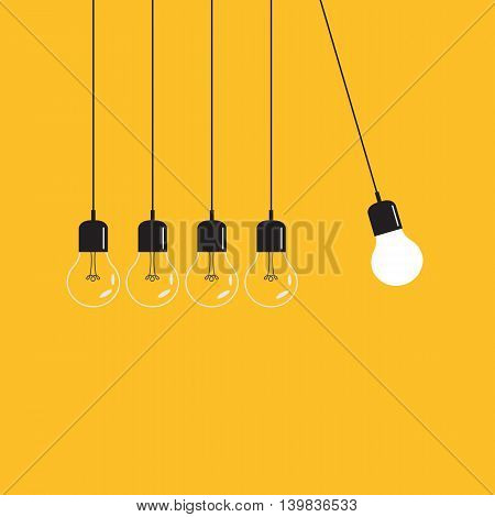 Hanging light bulbs with glowing one on a yellow background. Vector illustration.