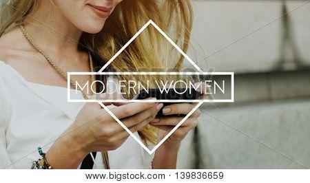 Modern Women Female Girl Contemporary Lady Concept