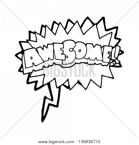 freehand drawn speech bubble cartoon awesome symbol