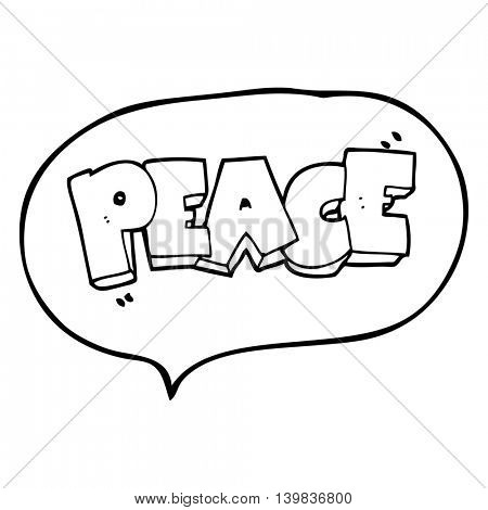 freehand drawn speech bubble cartoon word peace