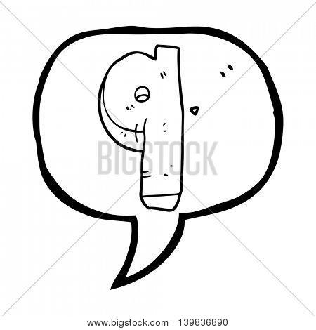 freehand drawn speech bubble cartoon stone number nine
