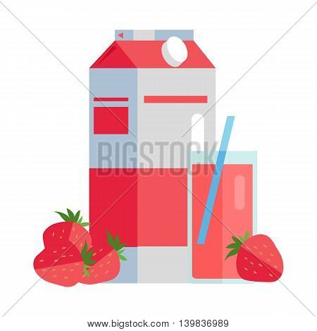 Strawberry juice vector illustration. Flat design. Paper pack with strawberries and glass full of juice. Ecological clean packaging concept for signboard, icons, logo or web design, infographics.