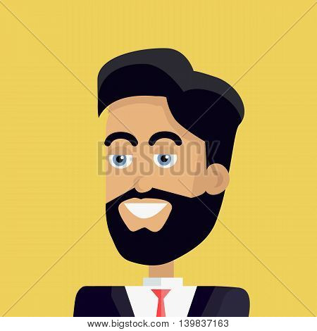 Businessman avatar icon isolated on yellow background. Man with black hair and beard in business suit and tie. Smiling young man personage. Flat design vector illustration