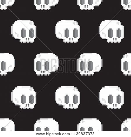 Pixel art style game skull seamless vector pattern