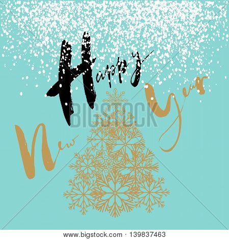 Happy New Year handeritten lettering design. Gold Christmas tree from snowflakes. Vector illustration. EPS10