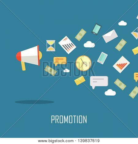 Creative office background. Promotion banner. Success business concept with megaphone with devices for communication in flat on blue background. Vector illustration.