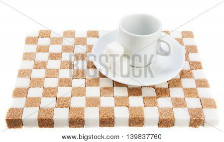 empty coffee cup on a saucer with three cubes of sugar on a stand of brown and white sugar. Isolated on white.
