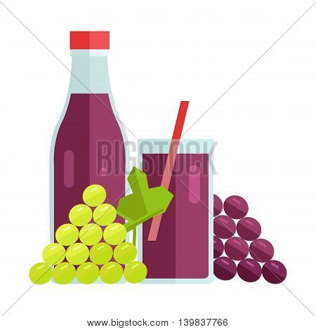Bottle and glass with grape beverage. Vector in flat design. Sweet summer drink, fresh juice concept. Illustration for icons, labels, prints, logo, menu design, infographics. Isolated on white.