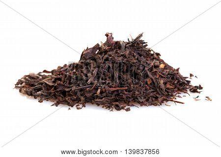 dry black tea large leaves isolated on white