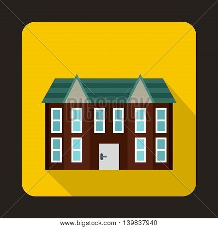 Brown two storey house icon in flat style on a yellow background