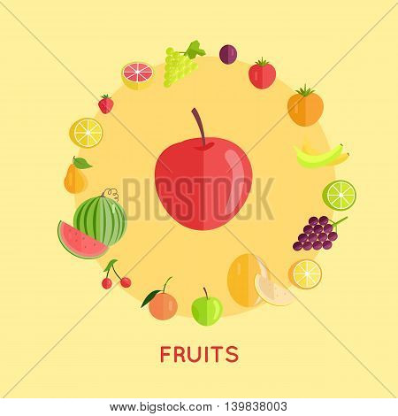Set of fruits vector. Flat design. Apple, watermelon, cherry, bananas, lemon. plum, grape, strawberry, plum, melon orange illustrations for farm shop diet banners and icons Isolated on yellow