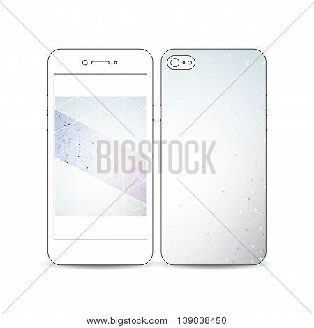 Mobile smartphone with an example of the screen and cover design isolated on white. Polygonal backdrop with connecting dots and lines, connection structure isolated on blue. Digital or science vector.