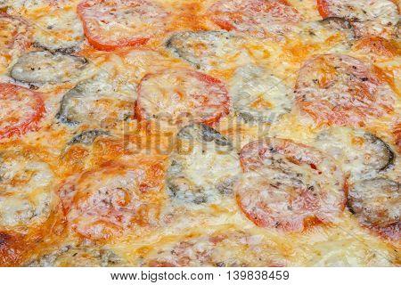 Hot homemade very tasty vegetarian pizza  close-up.