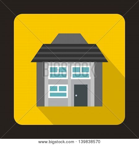 Grey two storey house icon in flat style on a yellow background