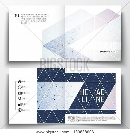 Set of annual report business templates for brochure, magazine, flyer or booklet. Polygonal backdrop with connecting dots and lines, connection structure, blue background. Digital or science vector
